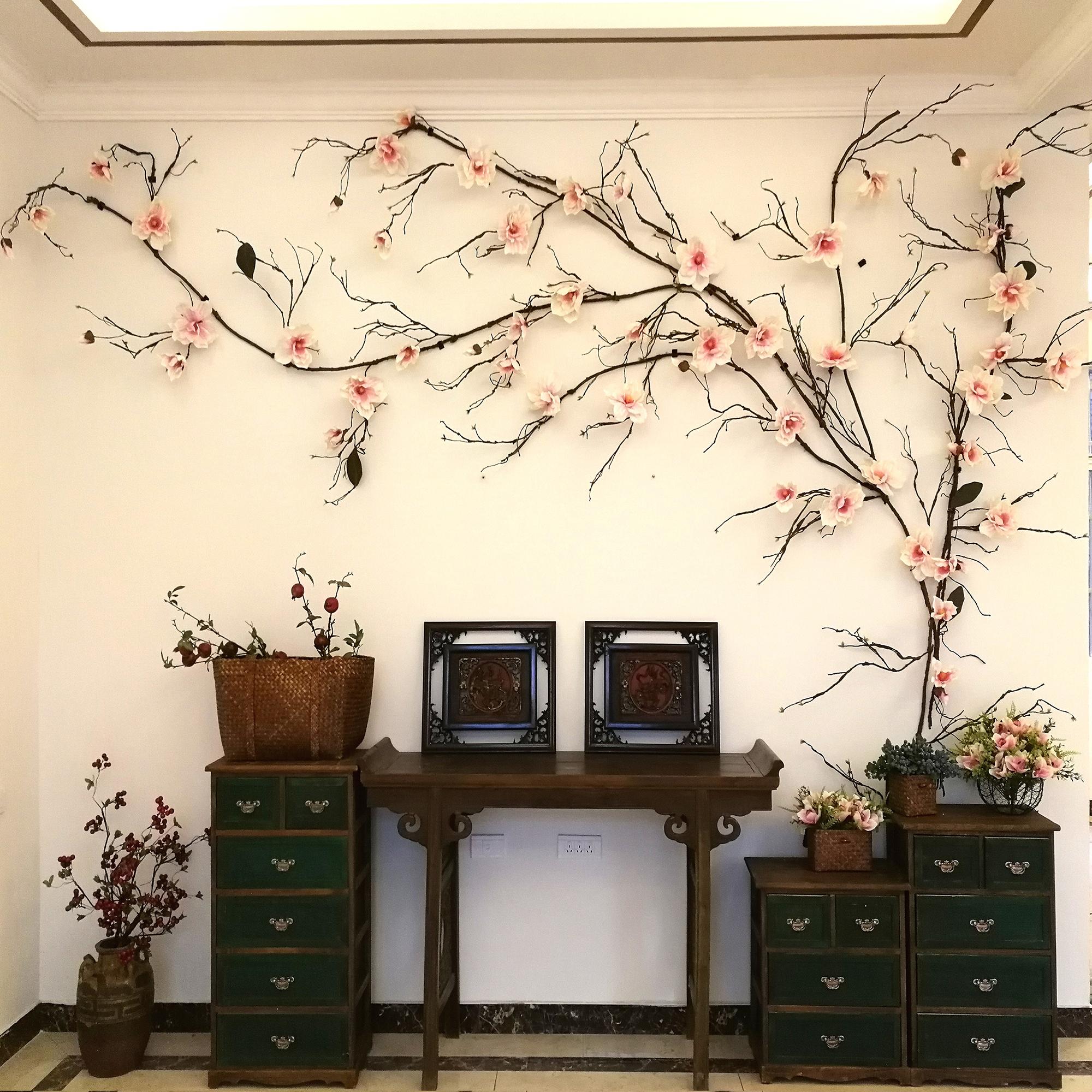 文艺术复古仿真树枝干藤条北欧中式适3-10米超宽电视背景墙壁装饰