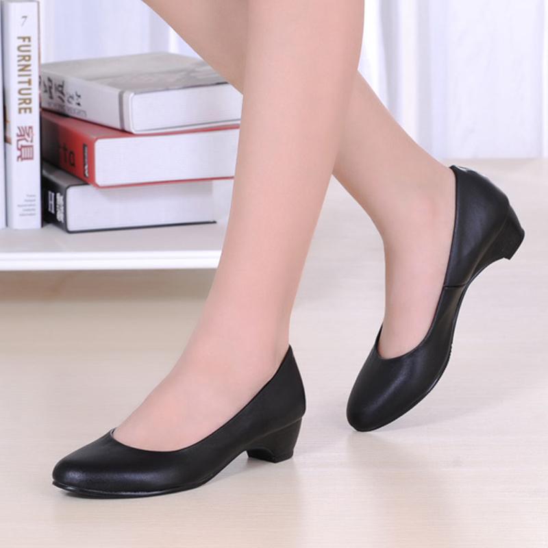 上海老牌頭層牛皮低跟女鞋酒店商場辦公室職業真皮工作鞋黑色單鞋