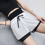 Large size sports shorts female anti-light fake two-piece gym quick-drying loose high waist yoga fitness running pants