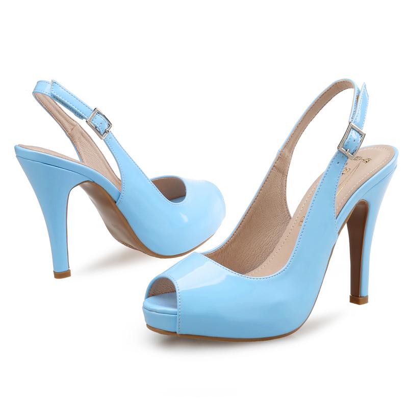 细跟高跟凉鞋女夏裸色高跟鞋小清新漆皮防水台鱼嘴鞋41-43大码鞋