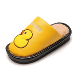 Children's cotton slippers winter boys and girls indoor warm anti-slip thick-bottomed cartoon waterproof pu leather surface big children's slippers
