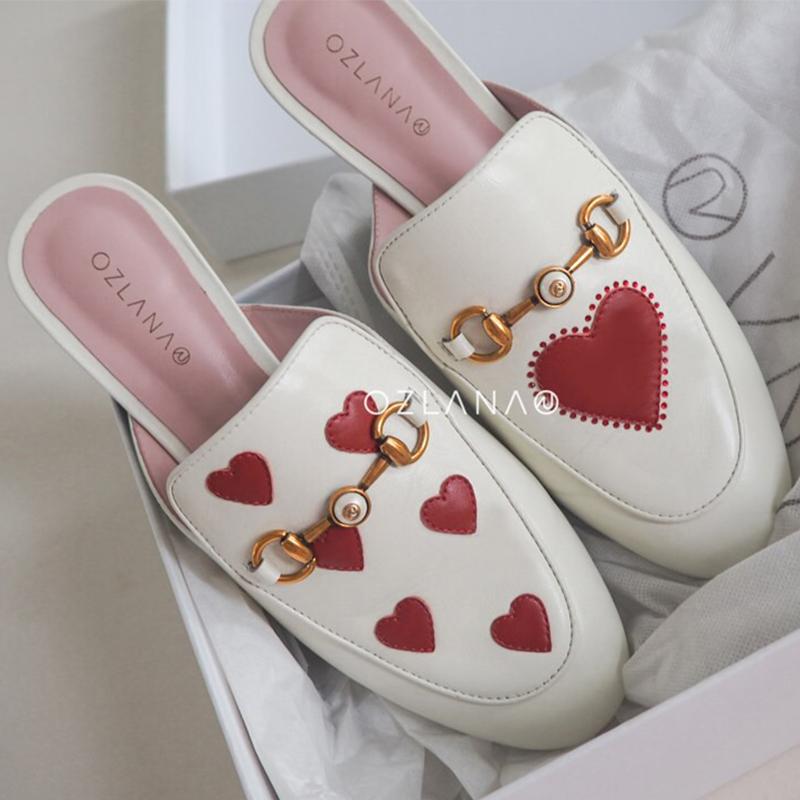白色爱心无后跟乐福鞋女鞋 OZ3054 新品 OZLANA2019 澳洲品牌 现货