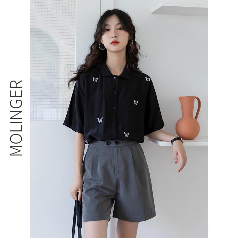 黑色短袖上衣夏季别致复古港风设计感小众衬衣法式薄款高级衬衫女