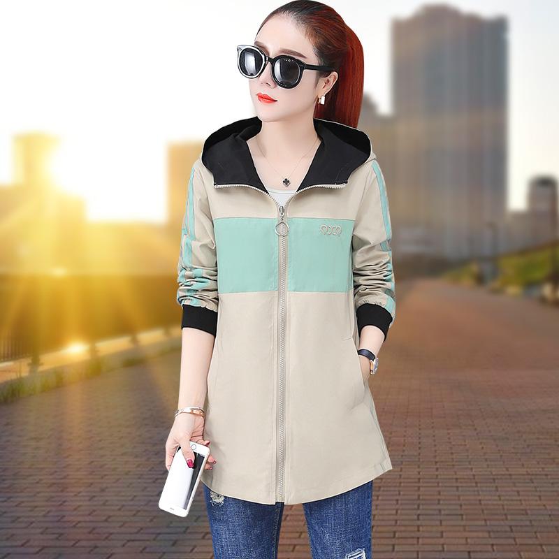 雙面穿中長款外套女2020年春季新款韓版風衣連帽夾克棒球服運動服