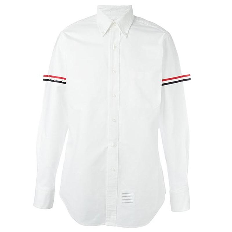 小俺原创2017新款TB基础款双袖标衬衫GD牛津府绸男女修身白色衬衣