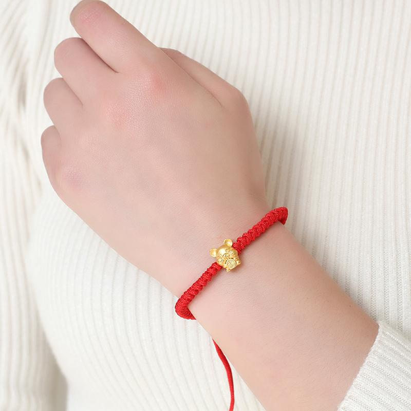 鼠年红绳手链女学生本命年黄金转运红绳男手工编织绳情侣手绳 2020