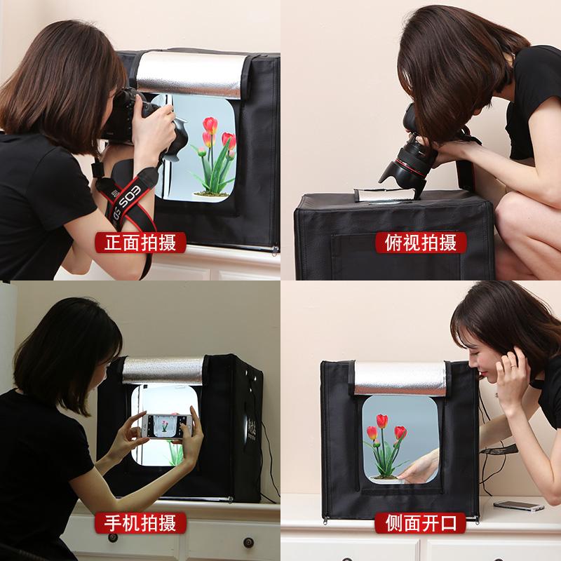 淘宝拍照小型摄影棚 迷你柔光箱珠宝摄影灯箱套装道具拍照灯40cm