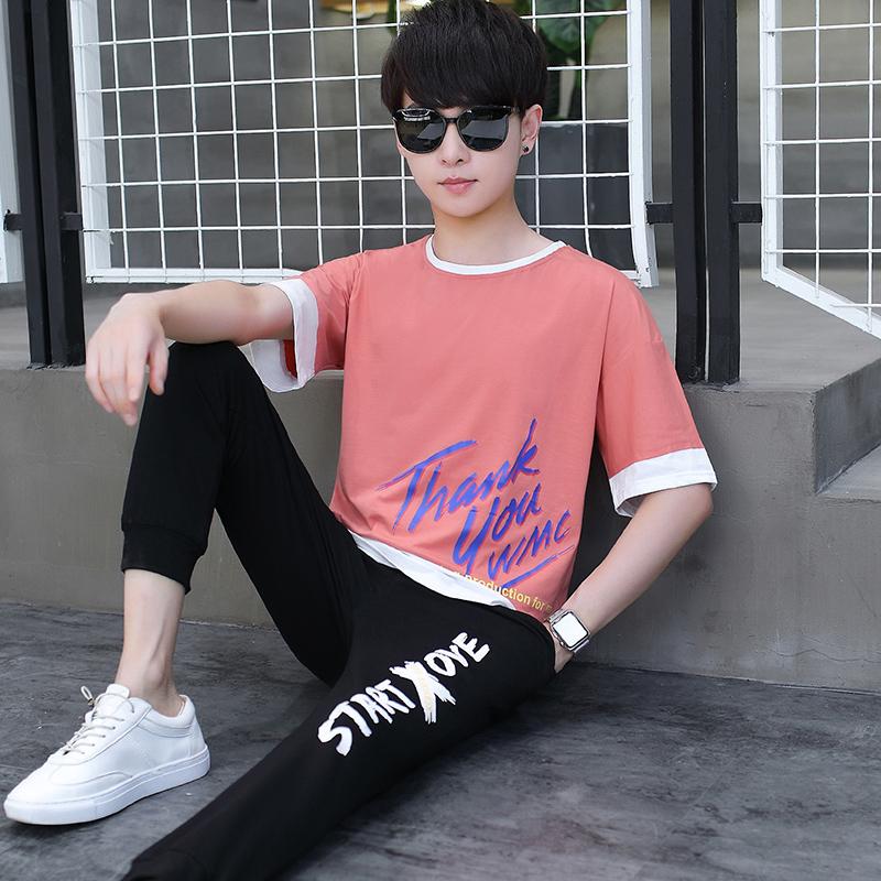 青少年夏季套装男13-15岁帅气男孩短袖t恤14高中初中学生大童夏装