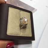 Jewelry No. 1 ring European wind ring s925 pure silver natural pearl fashion