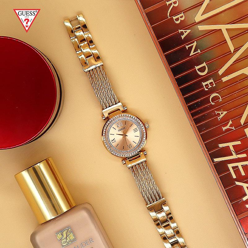 Guess盖尔斯手表官方正品水晶表圈金属丝表链石英表轻奢休闲女表