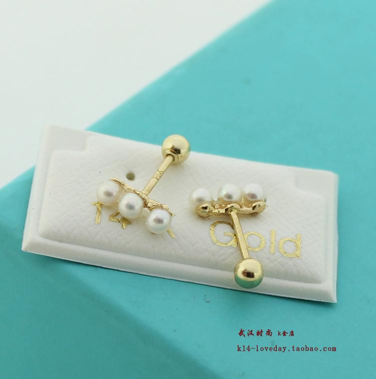 纯金耳钉女 14k 一排珍珠拧螺丝 金耳钉 14k 时尚韩国纯 WH