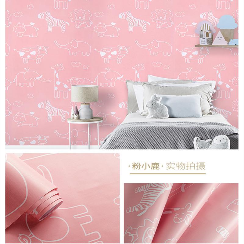 米 10 猫动漫壁纸可爱女孩温馨儿童房 KT 卡通墙纸自粘防水整张卧室