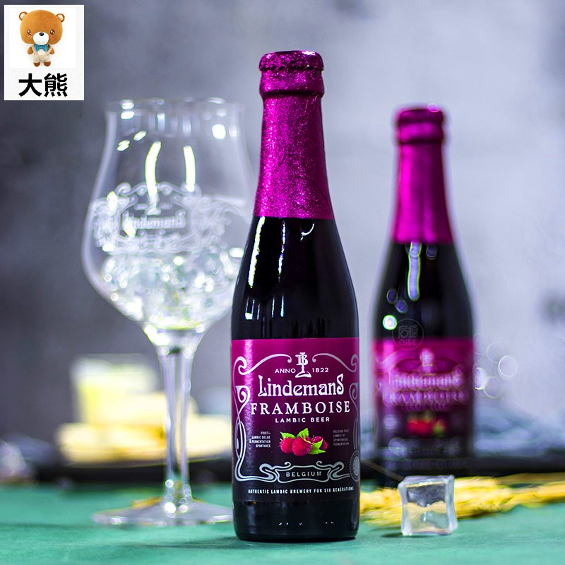 250ML 低度少女甜酒樱桃草 桃子林德曼比利时进口水果味甜精酿啤酒