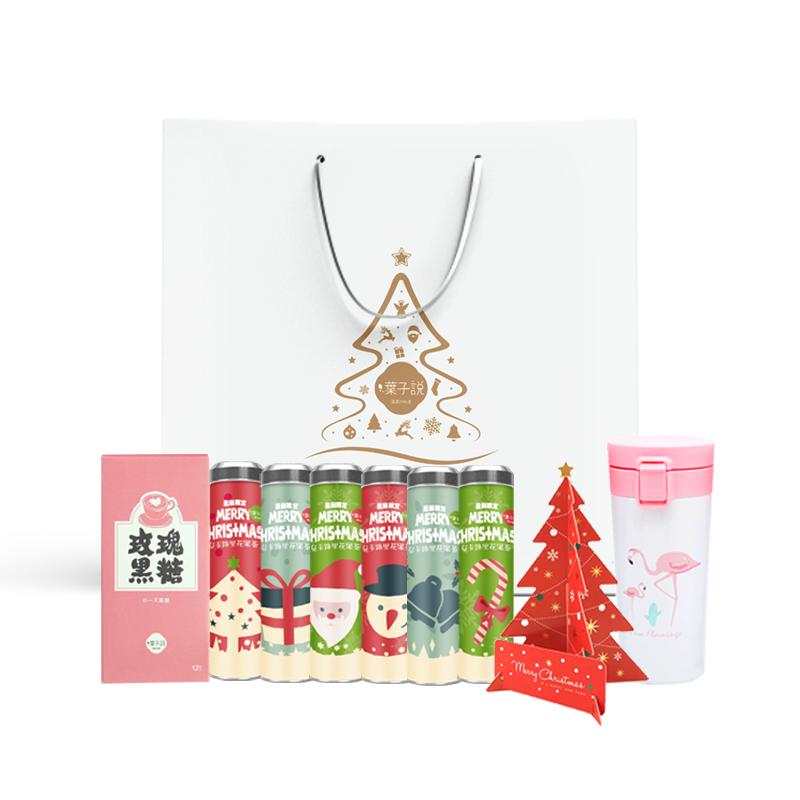 赠品 罐负卡路里荷叶花茶 6 内含超值 套 100 限定 圣诞礼包 叶子说
