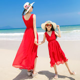 Yuehai Yuebei parent-child outfit 2019 summer mother women's seaside vacation beach dress dress red dress
