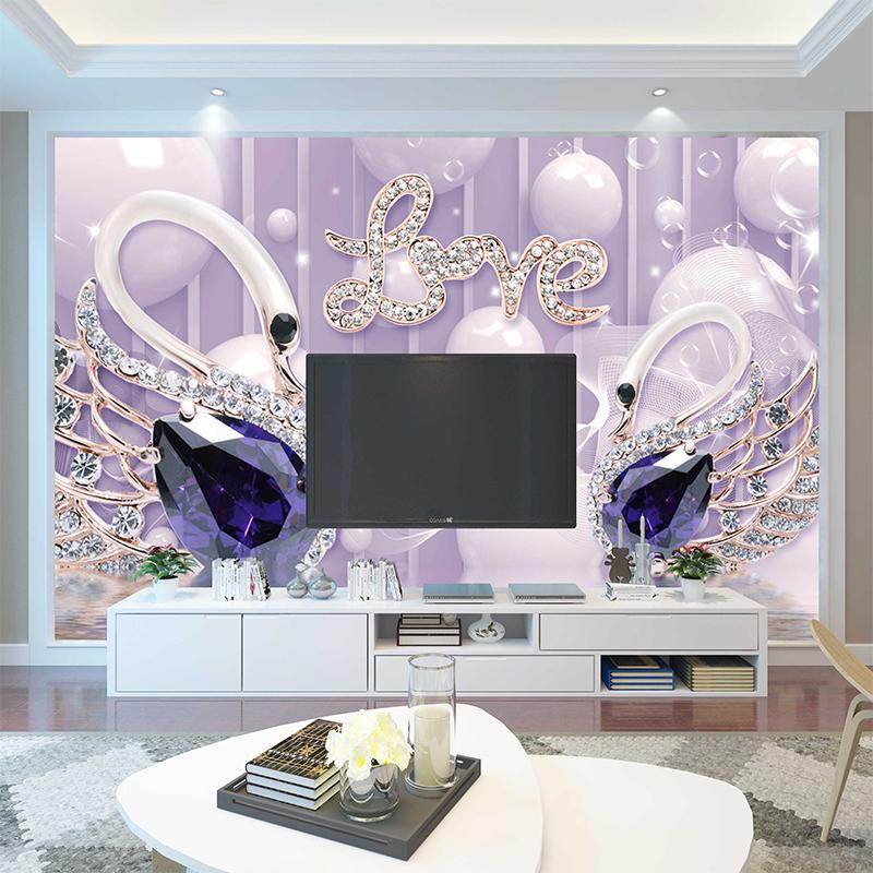 新款家用墙布客厅定制简欧 2019 电视背景墙壁纸 10d 立体凹凸壁画 16d