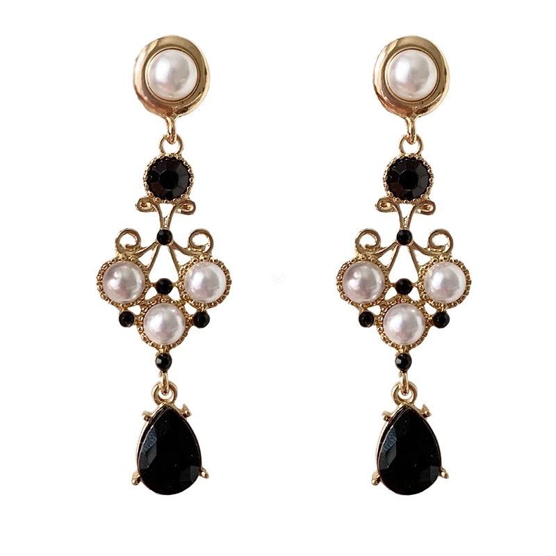 耳夹 黑色曼陀罗   宫廷复古巴洛克时髦高贵珍珠水滴黑钻耳环