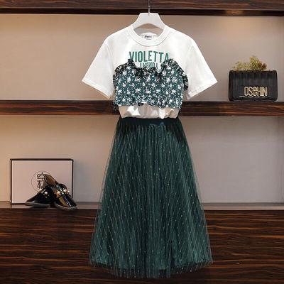短袖T恤半身裙两件套时尚大码女夏季网纱裙套装胖mm洋气减龄显瘦