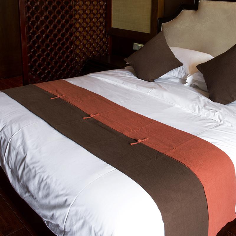 床旗中式盘扣单件酒店床上装饰用品黄棉麻布民宿宾馆床尾垫床尾巾