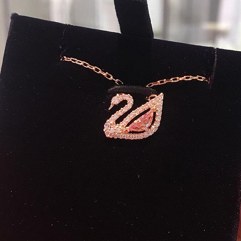 5469989 粉色水晶天鹅项链锁骨链 施华洛世奇玫瑰金 Swarovski
