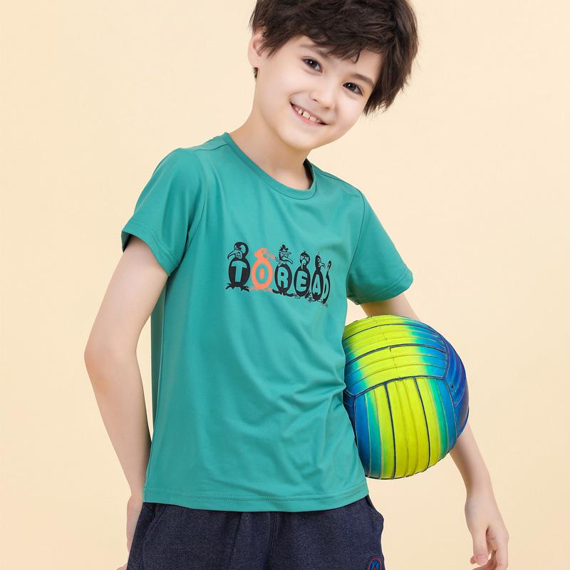 探路者童装2020春夏新品户外男女童速干排汗儿童短袖T恤QAJI85005