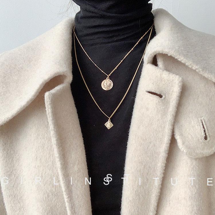 韩国网红气质复古女王头像金钱钱钱项链设计感金属雕刻硬钱毛衣链