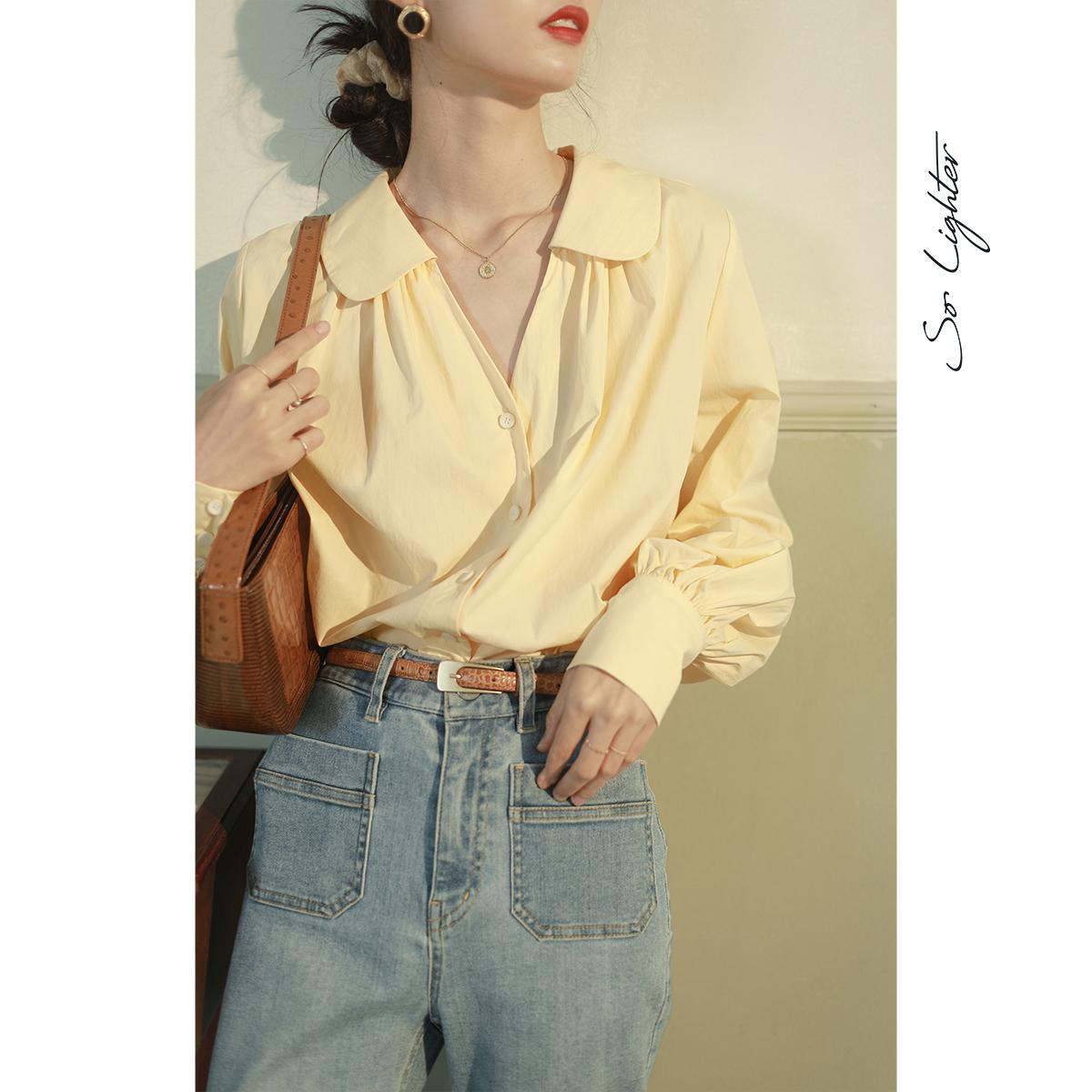 solighter 灯笼袖娃娃领衬衫女法式设计感小众复古气质露锁骨上衣