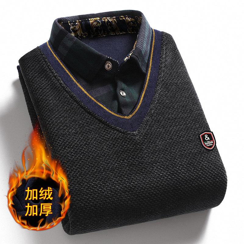 【加绒加厚】男士假两件毛衣打底衫