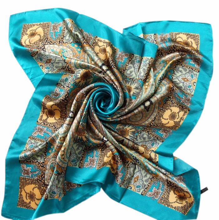 女士时尚装饰丝巾丝绸印花大方巾90CM方形丝巾围巾披肩(第1组)