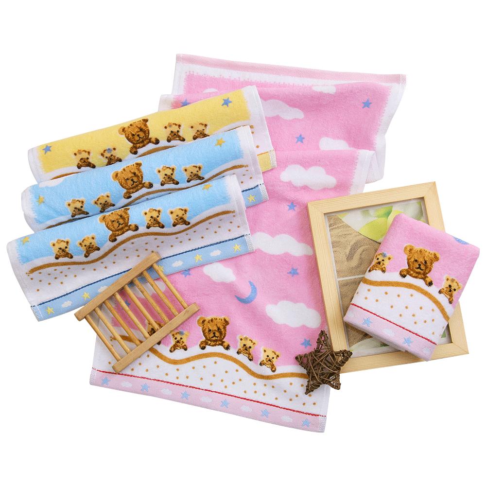 【5条装】金号纯棉小毛巾 儿童洗脸家用小面巾 可爱卡通 柔软吸水