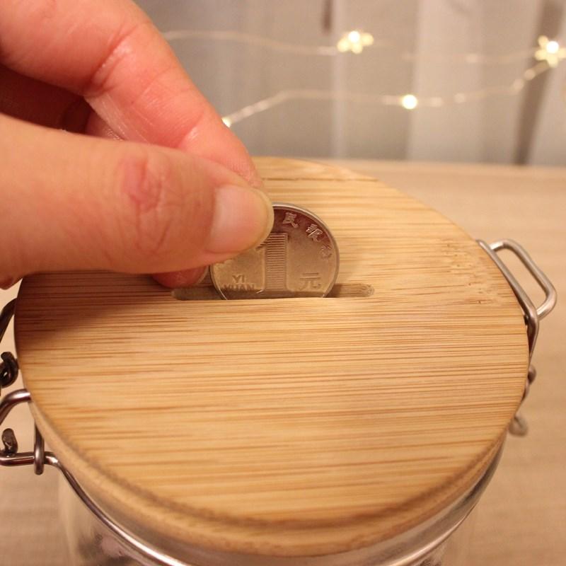 创意存钱储蓄罐大号零钱卡扣罐游戏钱硬钱纸钱存钱罐 DIY 透明玻璃