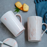 Ceramic mug with lid spoon breakfast cup creative personality trend couple coffee cup men and women household water cup