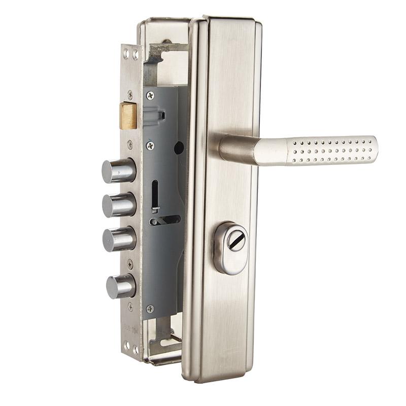 家用門鎖防盜門拉手套裝全銅鎖芯鎖體加厚把手通用型大門入戶門鎖