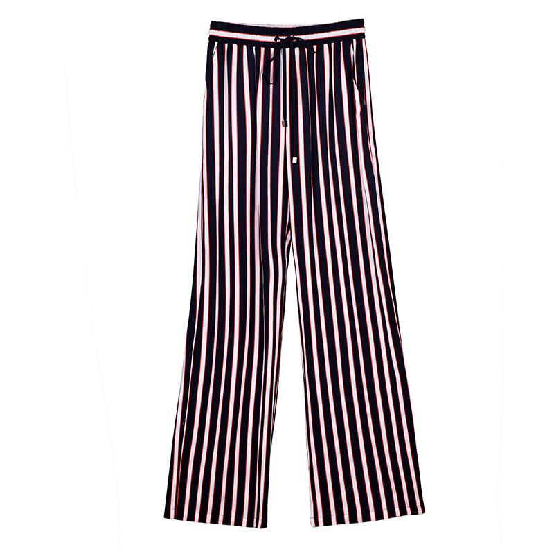 K家竖条纹阔腿裤女长裤2019夏季新款宽松薄款松紧坠感高腰直筒裤