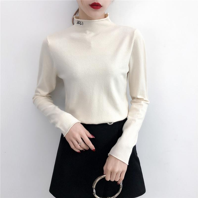 2018秋冬新款半高领字母套头毛衣女宽松百搭针织衫长袖内搭打底衫