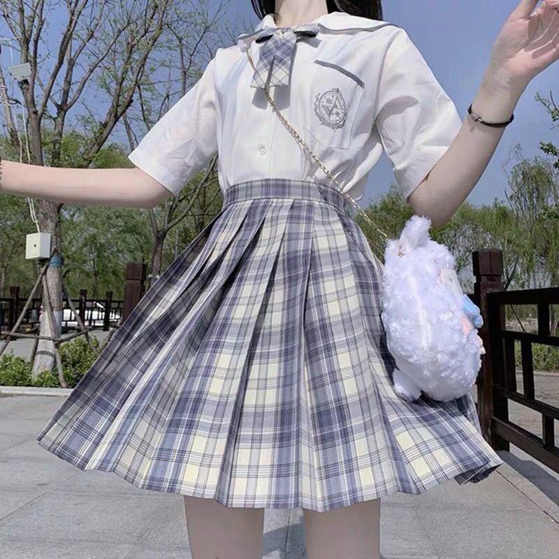 温柔一刀正版jk制服套装格裙女夏季水手服百褶裙日系短袖衬衫皓海