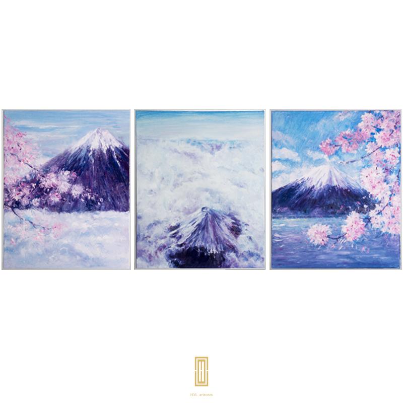 原创纯手绘油画三联客厅装饰画沙发背景墙富士山?;ㄊ止び突ㄖ?></a><br><a href=