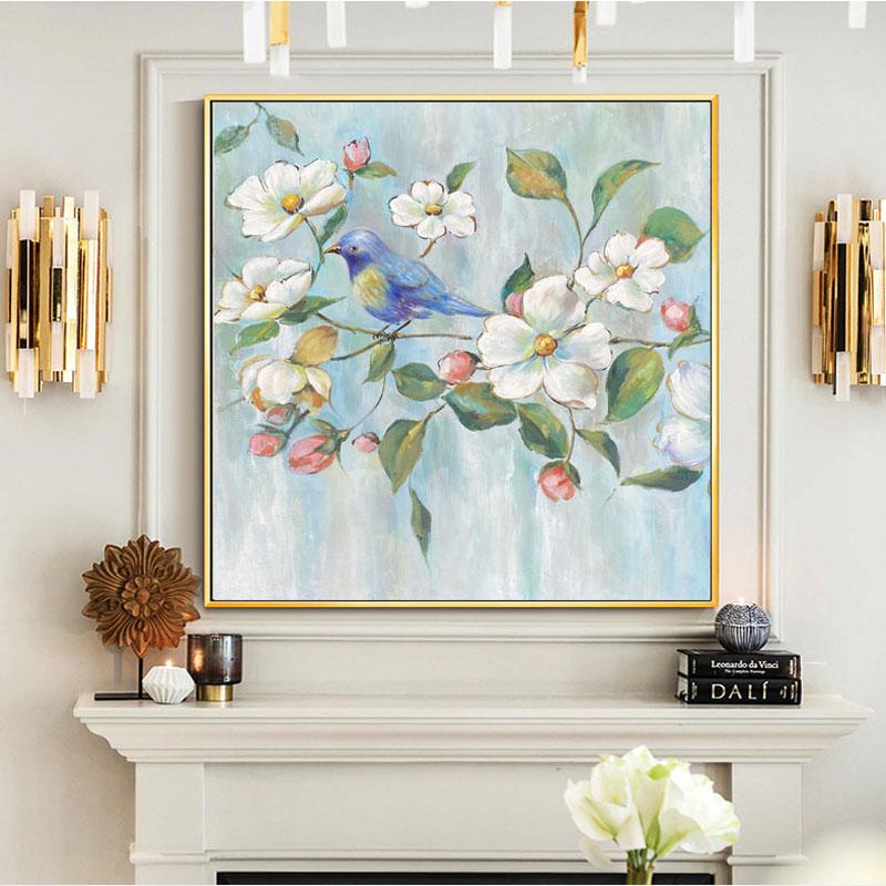 手繪油畫 花鳥輕奢玄關裝飾畫 美式客廳餐廳掛畫現代簡約壁畫大幅
