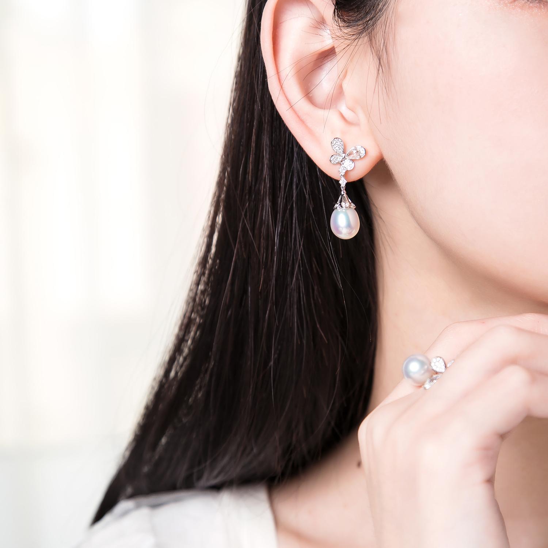 金玫瑰切钻石 18K 南洋水滴澳白珍珠耳钉 限量补货 配对不易
