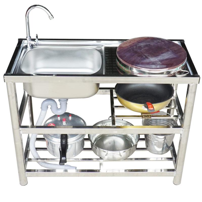 不锈钢水槽水池单槽家用简易带支架平台洗手盆洗菜盆落地 304 厨房