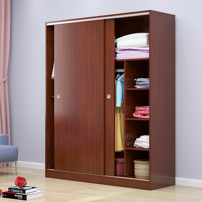 美式推拉门衣柜木质趟门 20 门移门大衣橱白色储物柜卧室家具 2 柜