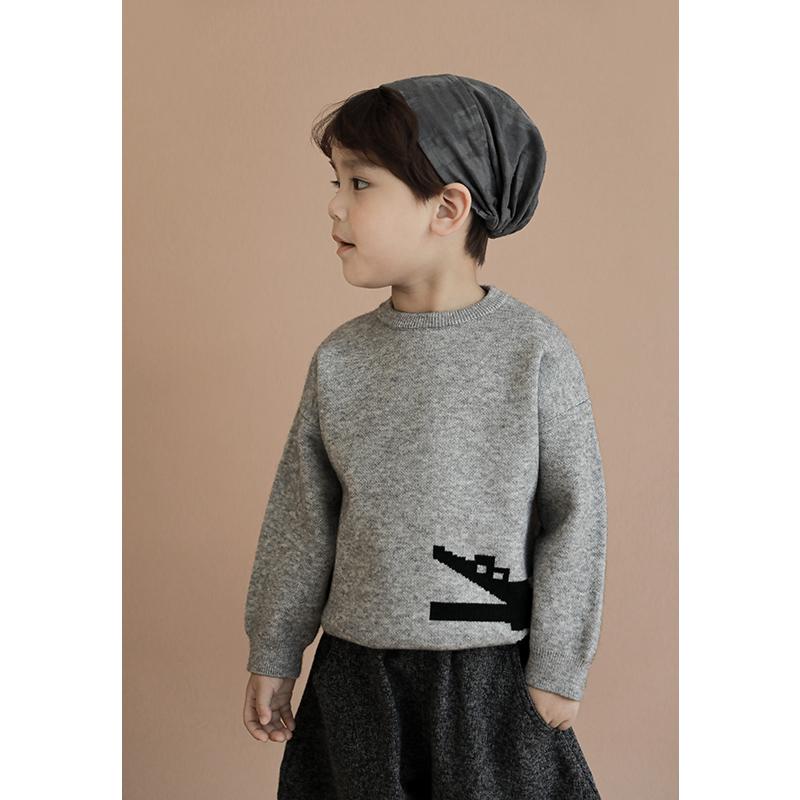 幼悠2021春秋装新款儿童套头毛衣男童宝宝卡通洋气保暖针织衫上衣