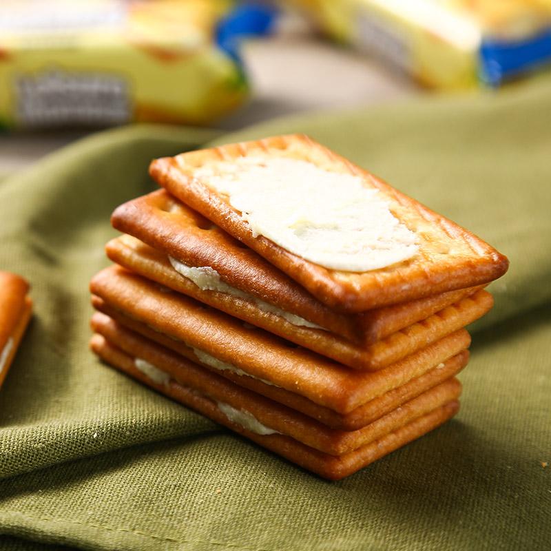 休闲零食蛋糕面包小吃 酥脆可口 380g 香蕉牛奶味夹心饼干 土斯