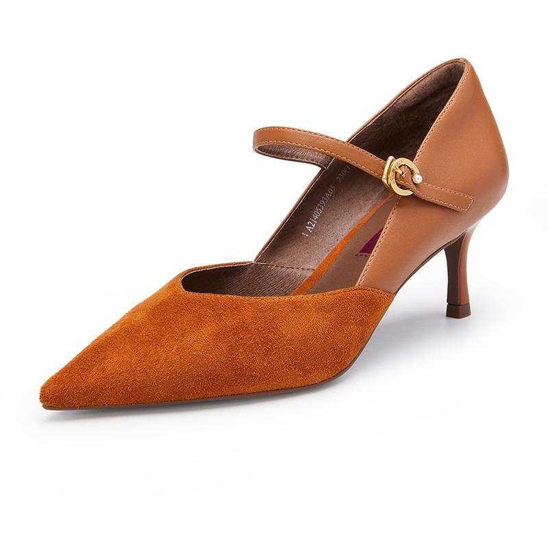 A21405393 年秋季新款细跟浅口尖头高跟鞋绒面单鞋 2021 千百度女鞋