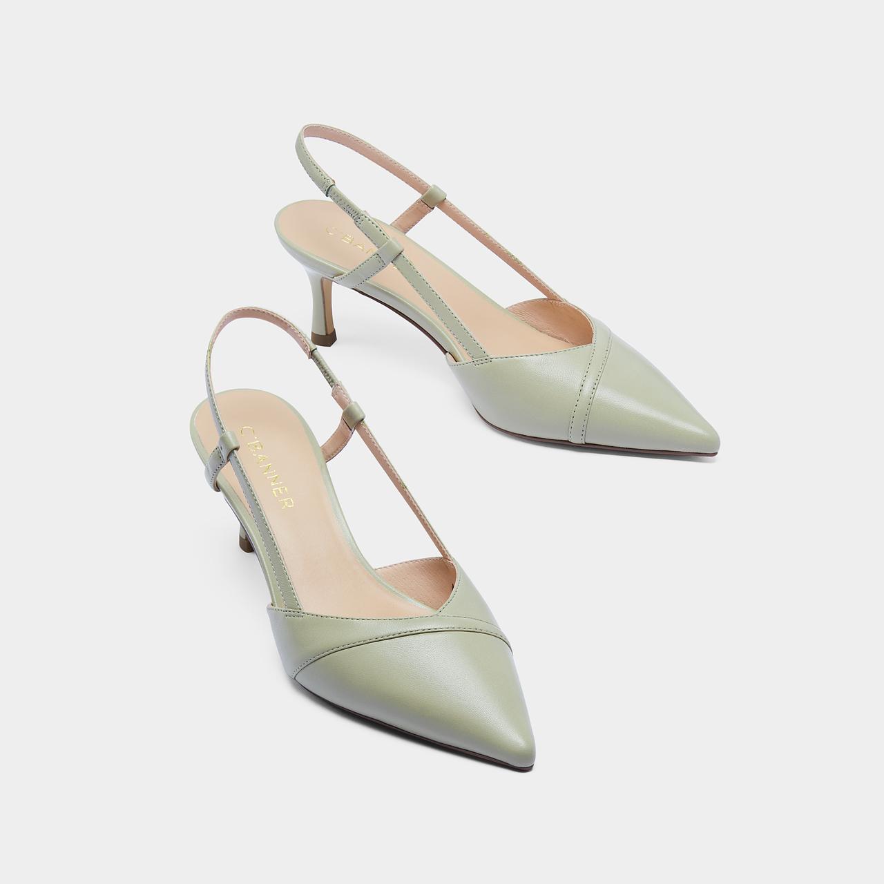 春夏新款小猫跟后空单鞋 2021 千百度女鞋尖头细跟羊皮高跟时装凉鞋