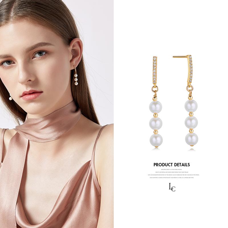 2018新款纯银天然珍珠耳环女气质流苏个性百搭潮网红时尚长款耳坠