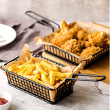 Creative stainless steel snack plate fried food fried food fried fish chicken fin leg basket basket Western-style restaurant filled with chips