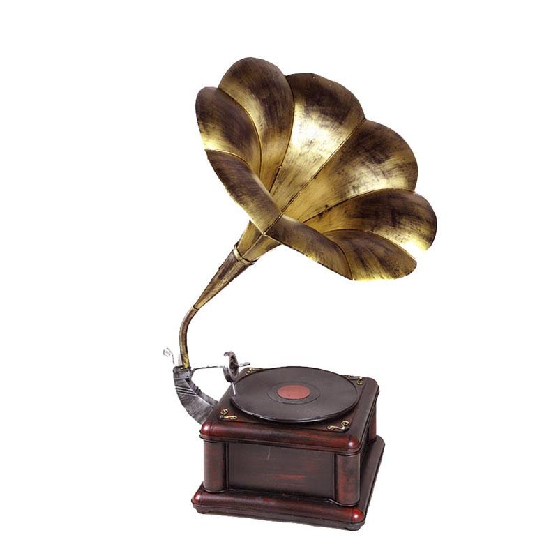 包邮复古老式黑胶唱片机家居软装饰摄影道具大喇叭留声机模型摆件