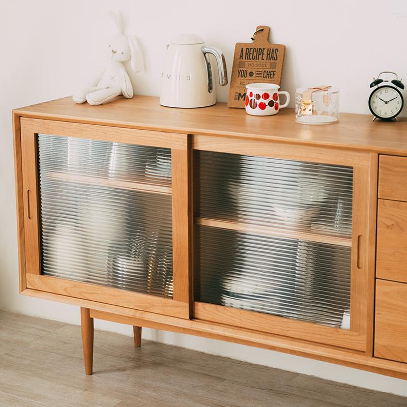 北欧实木餐边柜玻璃储物柜移动门日式茶水柜橱柜碗柜简约