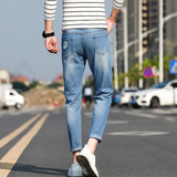 Nine holes jeans spring tide brand men's casual pants male Korean fashion wild Slim pants feet